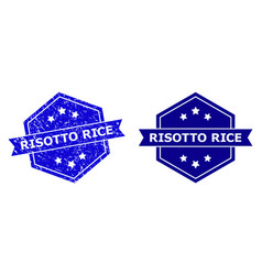 Hexagon risotto rice seal with unclean surface and vector