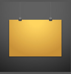 horizontal poster clips suspended mockup vector image