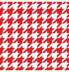 Houndstooth tile red and white pattern background vector