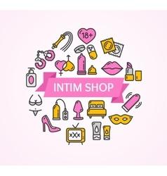 Intim or sex shop concept vector