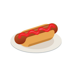 isometric isolated hot-dog fast food vector image