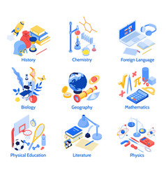 Isometric school subjects compositions vector