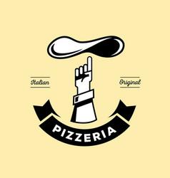 italian pizzeria logo with hand point dough vector image