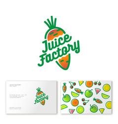 juice factory logo smoothie detox carrot vector image