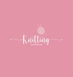 knitting ball logo knitting needles handmade ping vector image