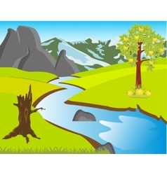 Landscape with nature and river vector