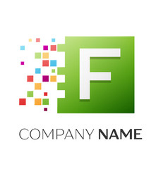 Letter f symbol in the colorful square vector