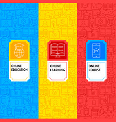 line online learning package labels vector image