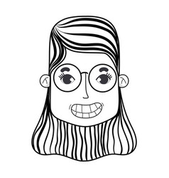 Line woman face with hairstyle and glasses vector