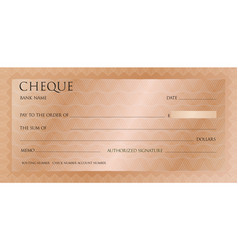 luxury pink gold cheque template with vintage vector image
