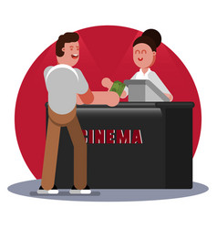man buys ticket to cinema vector image