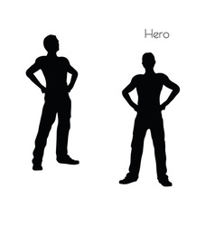 Man in Hero pose on white background vector