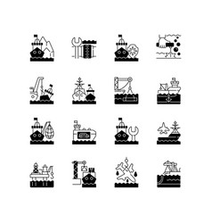 Marine industry black linear icons set vector