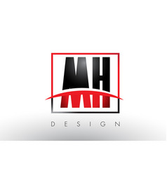 mh m h logo letters with red and black colors vector image