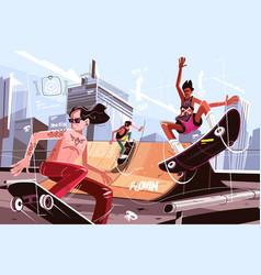 modern urban skateboard park vector image