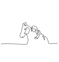 one line drawing girl lying a horse vector image