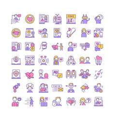 online dating rgb color icons set vector image