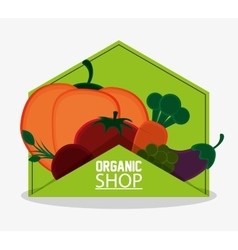 Organic shop food natual products emblem vector