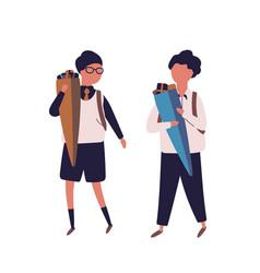 pair of boys dressed in uniform walking to school vector image