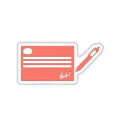 Paper sticker on white background cash a check vector