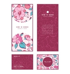 Pink blue kimono flowers vertical frame vector