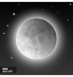 Realistic detailed full blue moon isolated vector