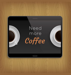 realistic tablet on wooden table vector image