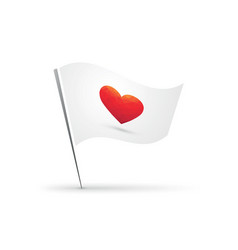 red heart symbol on flag vector image