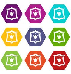 Royal shield icons set 9 vector