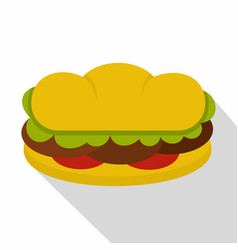 Sandwich with meat patties icon flat style vector