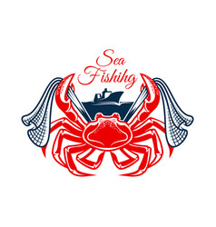 sea fishing symbol with crab and net vector image