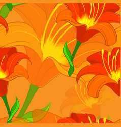 Seamless lily pattern vector