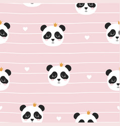 seamless pattern with panda princess vector image