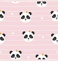 seamless pattern with panda princess vector image