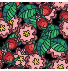 Seamless pattern with wild rose flower and vector