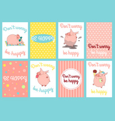 Set of banners with cute pigs vector