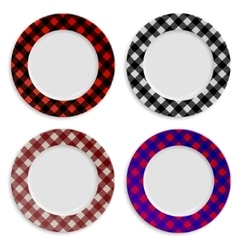 Set of plates with checkered pattern isolated on vector