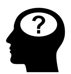 SIlhouette of head with question mark vector image