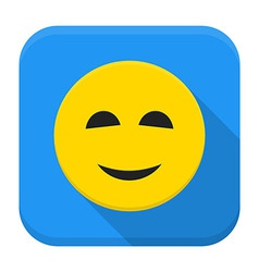 Smiling yellow smile app icon with long shadow vector image