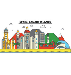 Spain canary islands city skyline architecture vector