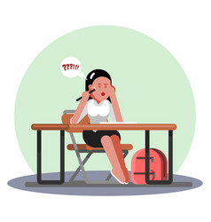 student girl passing exams vector image