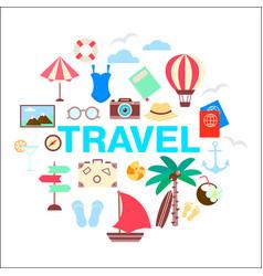 summer travel icon set vector image