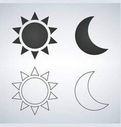 Sun and moon flat and linear icon icon for web vector