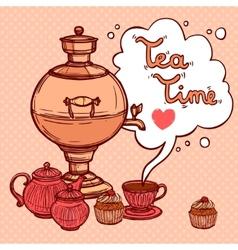 Tea background with samovar vector