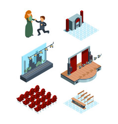 theater stage decoration isometric interior of vector image