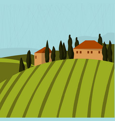 tuscan landscape with houses and trees vector image