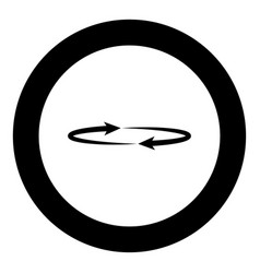 Two arrows on the circle angle 360 black icon in vector