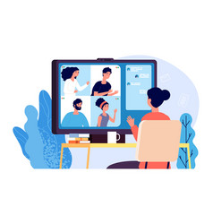 video calling online conference internet call or vector image