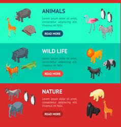 wild animals 3d banner horizontal set isometric vector image
