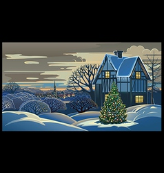Winter landscape Christmas vector image